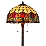 """Tiffany Style Standing Floor Lamp 62"""" Tall Stained Glass Brown Red Green Flower Tulip Antique Vintage Light Decor Bedroom Living Room Reading Gift AM002FL18B Amora Lighting, Multicolor"""