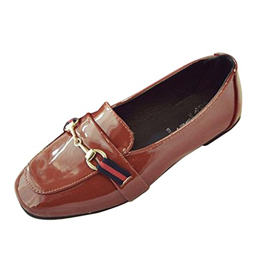 Binying Women's England Style Patent Leather Flat Pumps Red nlLqH0P6