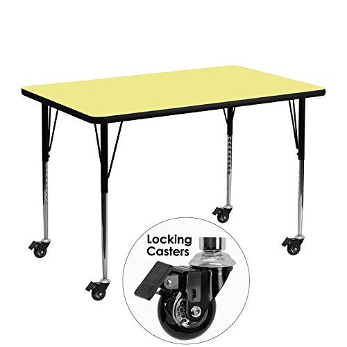 48' Rectangle Activity Table - Flash Furniture Mobile 30''W x 48''L Rectangular Yellow Thermal Laminate Activity Table - Standard Height Adjustable Legs