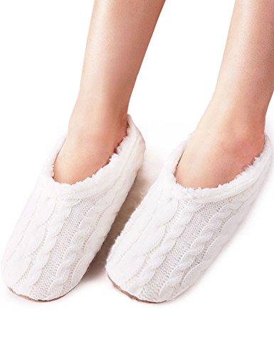 VERO MONTE 2 Pairs Womens Thick & Warm Slipper Socks (WHITE, 7.5-8.5)