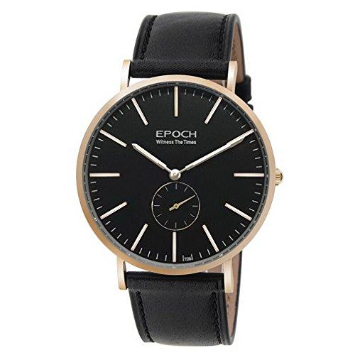 EPOCH 6025G waterproof 50m tritium blue luminous ultrathin case leather strap business men quartz wrist watch - Rosegold by EPOCH (Image #1)