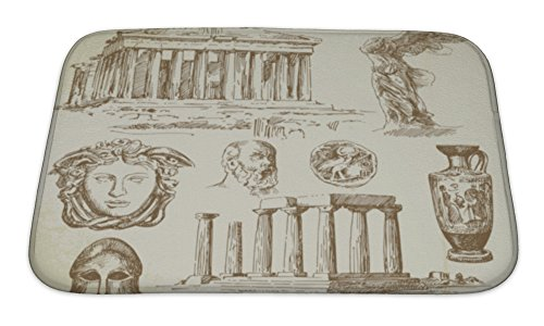 Doric Bath (Gear New Bath Rug Mat No Slip Microfiber Memory Foam, Beige Antique Greece,)