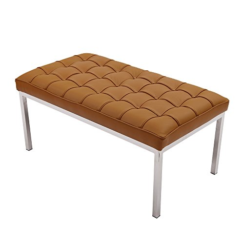 MLF® Florence Knoll Bench-2 Seater (5 Colors). Light Brown Italian Leather, Multi Density Foam Cushion & Fire Retardant Compliant.