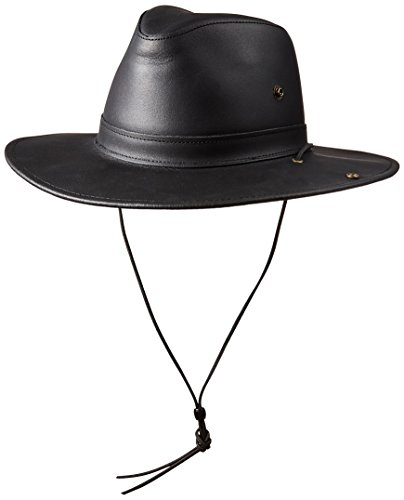 Henschel Full Grain Leather Aussie with snap-Up Brim, Black Dakota, Large