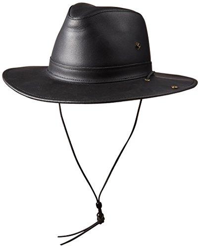 Henschel Full Grain Leather Aussie with snap-Up Brim, Black Dakota, - Aussie Slouch Hat