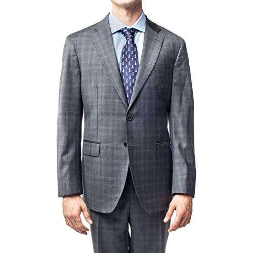 Hart Schaffner Marx Men's Two Button Plaid Suit Grey