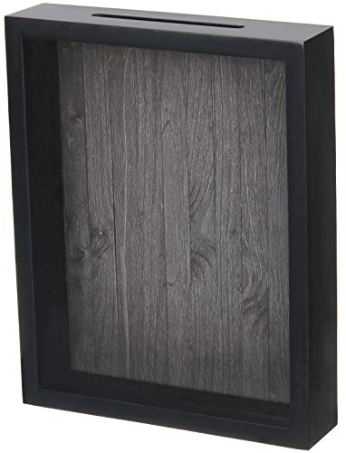(Shadow Box Display Case – Top Loading Black Wood Frame - Showcase Bottle Caps, Shells, Ticket Stubs, Airline Tickets, and More (Charcoal))