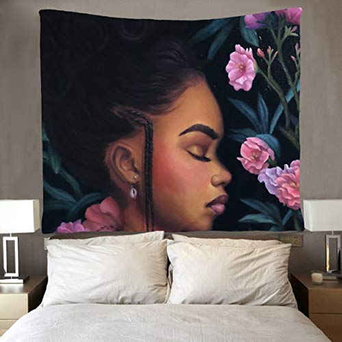 SARA NELL Black Art Wall Tapestry Hippie Art African American Girl with Flower Tapestries Wall Hanging Throw Tablecloth 50X60 Inches for Bedroom Living Room Dorm Room ()