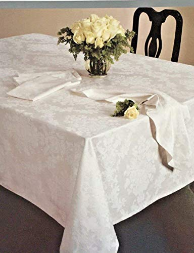 Waterford Table Linens Mirabella Pearl White Tablecloths- Assorted Sizes (70 x 84 Oblong)