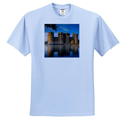 3dRose Danita Delimont - Castles - Misty Dawn at Bodiam Castle, Robertsbridge, East Sussex, England - T-Shirts - Light Blue Infant Lap-Shoulder Tee (12M) (Sussex 12 Light)