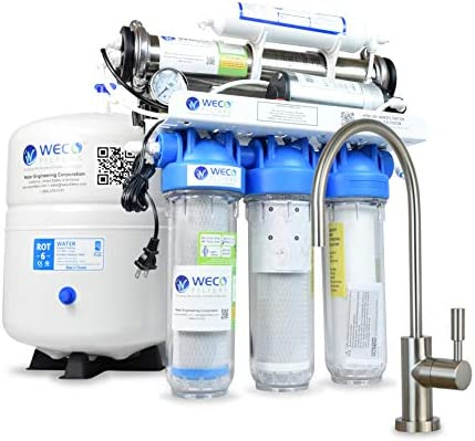 WECO KPNF-200 Undersink Nanofiltration System with Pump for Drinking Water Purification – up to 200 Gallons Per Day
