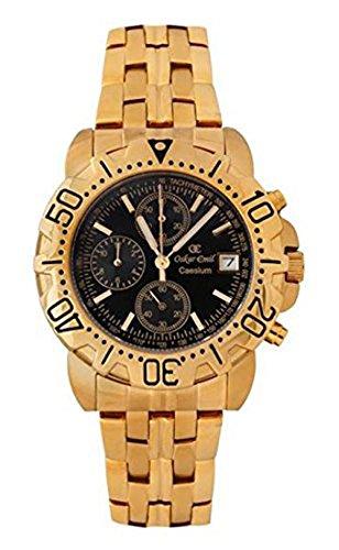Oskar-Emil Classic Chrongraph Caesium 1119G Men's Quartz Watch Black Dial Analogue Display & Stainless Steel Gold Plated Bracelet RRP $495