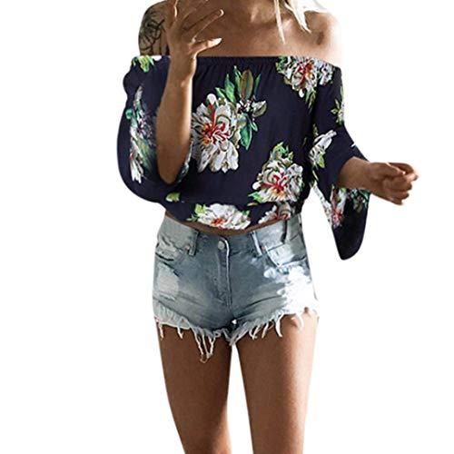 Casual Blouse Dame Fleur sans Encolure Motif Chic Printemps Manches Elgante Marine Bretelles Haut Costume Longues Shirt Tee Bateau Sangle Vintage Femme Shirt Automne Tops Mode grqvw4Zg