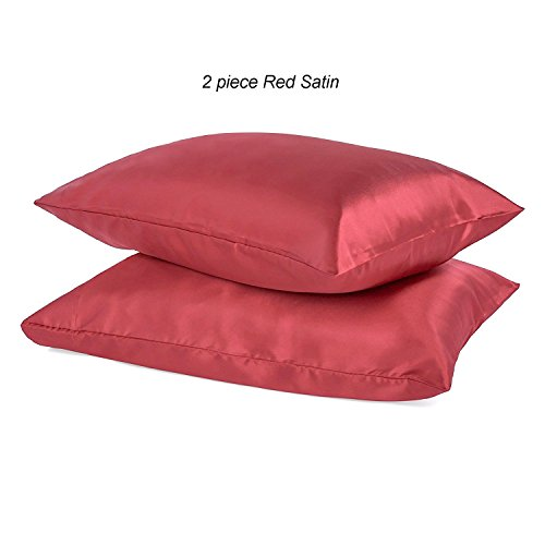 2 Pack Red Satin Zippered Pillow Case Protector Standard Siz