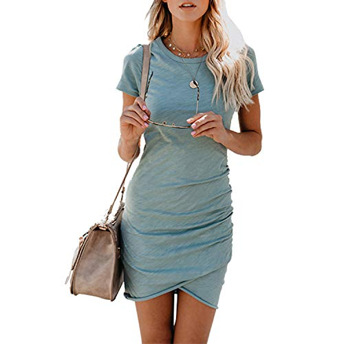 UPhitnis Women's 2019 Casual Crew Neck Ruched Stretchy Bodycon T Shirt Short Mini Dress Casual Beach Dress