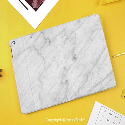 Case for Samsung Galaxy Tab S4 10.5 T830 T835 T837 Kids Safe Shockproof,Marble,Carrara Marble Tile Surface Organic Sculpture Style Granite Model Modern Design,Dust Grey White