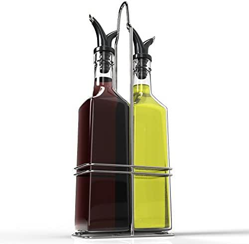Royal Oil and Vinegar Bottle Set with Stainless Steel Rack with Removable Cork