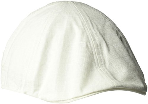 Sean John Men's Herringbone Texture 6 Panel Newsboy Cap, Ivy, Cream, Large/XLarge