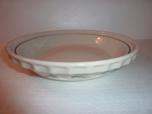 Longaberger Pottery Woven Traditions Grandma Bonnies Pie Plate Heritage Green Made in USA
