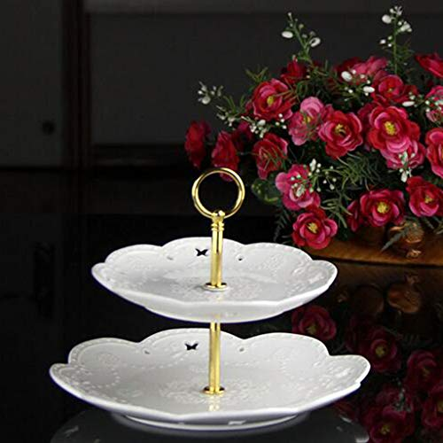 LOVIVER 1Set Metal 2 Tier Party Wedding Cupcake Fruit Heavy Plate Stand Centre Handle Fittings Round Drill Round Hardware Rod - Gold by LOVIVER (Image #9)