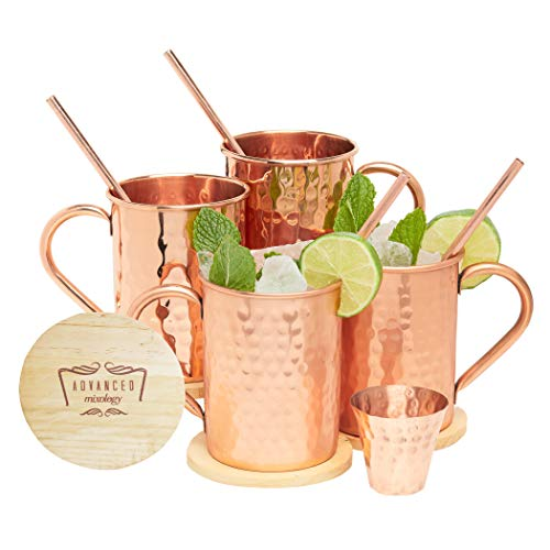 Advanced Mixology Moscow Mule Copper Mugs - 100% Pure Copper, 16 Ounce Set of 4 with 4 Artisan Hand Crafted Wooden Coasters