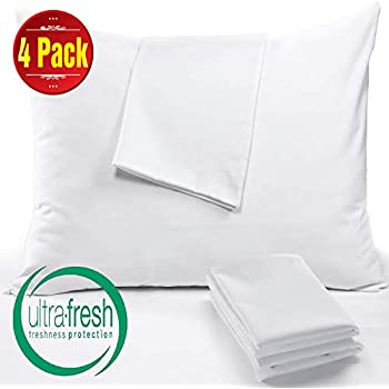 Niagara Sleep Solution 4 Pack Pillow Protectors Standard 20x26 Inches Lab Certified Anti Allergy Ultra Fresh Treated 100% Cotton Non Crinkle Quiet Breathable Zipper Covers Cases White