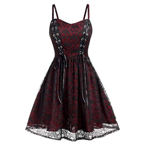 Todaies Women's Sleeveless Dress Party Plus Size Halloween Lace Mesh Patchwork Camisole Zipper Mini Dress Wine