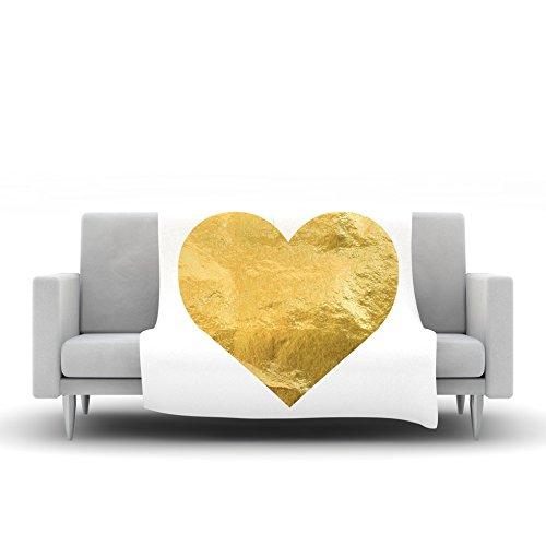 Kess InHouse Kess Original Heart of Gold Metallic Fleece Throw Blanket 80 by 60