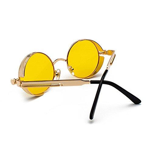 Océano de color de de Amarillo Gafas de retro Aiweijia sol moda sol Gafas Marco de Lente Dorado metal Marco círculo de HRzqawafcS