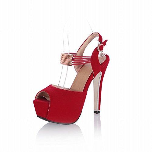 Carol Schoenen Chique Vrouwen Sexy Gesp Peep-toe Mode Charmes Platform Hoge Hak Sandalen Rood