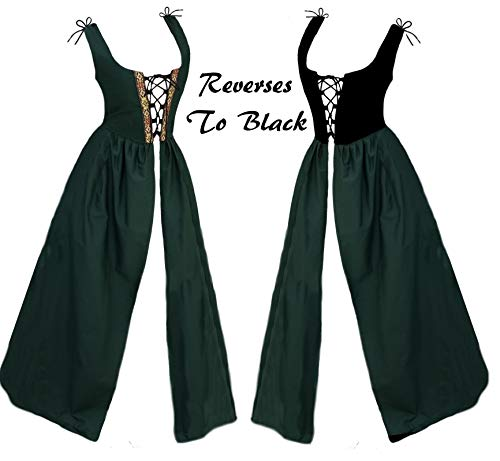 Medieval Celtic Clothing - Faire Lady Designs Renaissance Clothes Medieval Celtic Costume Reversible Bodice Irish Over Dress (Irish Dress Only) Green
