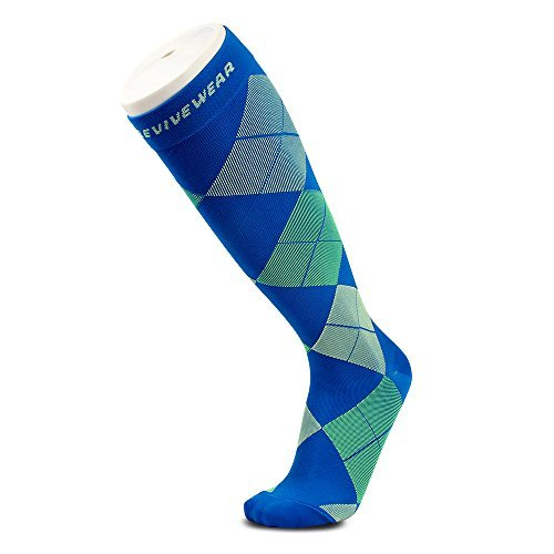 Knee high compression sock by Revivewear - For men & women, athletic fit for sports, running, maternity and pregnancy argyle design (1 Pair), Multicoloured, Small / Medium by Revivewear (Image #1)