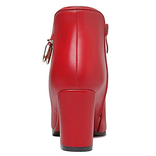 Women's Boots Heel BERTERI Crude Pointed Side Toe Zipper Red Bootie Decoration Metal pwqRUdf4