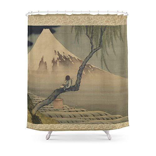 "Sukuraceci Bathroom Boy Viewing Mount Fuji by Katsushika Hokusai Shower Curtain 72"" by 72"""