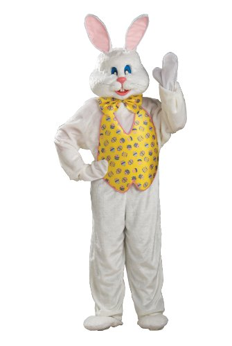 Deluxe White Jumpsuit Costumes (Rubie's Costume Adult Deluxe Bunny Costume With Mascot Head,White,One Size)