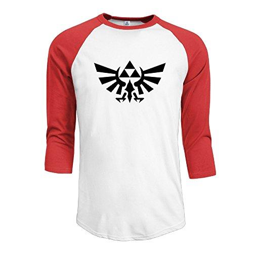 JUN Men's 3/4 Sleeve The Legend Of Zelda Football Short T-shirt Red XL (Set Swift Red Taylor Box)