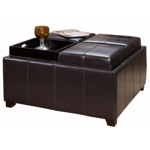 Best Selling Dartmouth Leather Tray Ottoman, Black