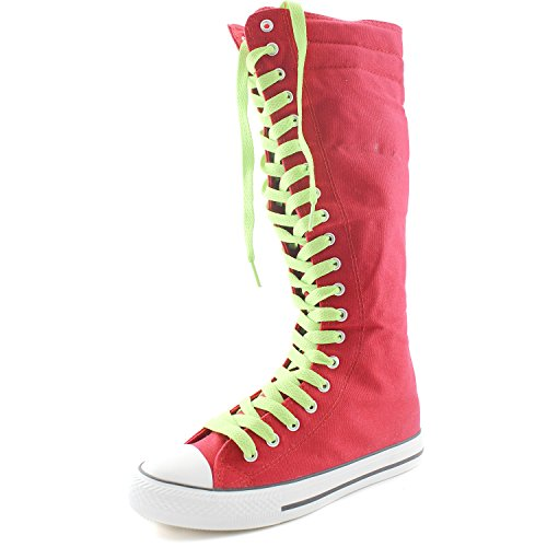 DailyShoes Womens Canvas Mid Calf Tall Boots Casual Sneaker Punk Flat, Fuchsia Boots, Mint Green Lace