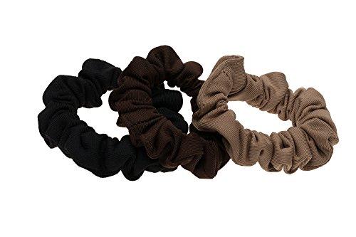 L. Erickson Small Scrunchie 3-Pack - Black/Espresso/Camel - Camel Hair Blend