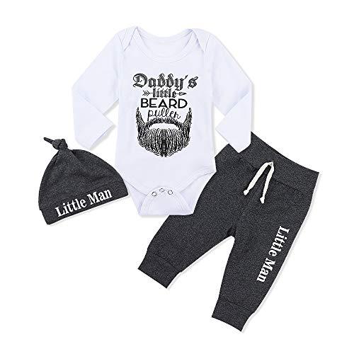 3 Pcs Set Baby Clothes Newborn Toddler Infant Boy Beard Letter Print Romper Long Pants Hat Outfits