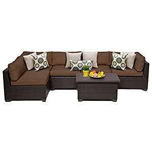 TK Classics 6 Piece Belle Outdoor Wicker Patio Furniture Set, Cocoa 06a