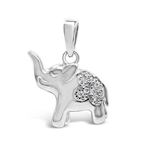 (925 Solid Sterling Silver Tiny Cubic Zirconia Elephant Animal Pendant / Charm for Necklace or Bracelet  )