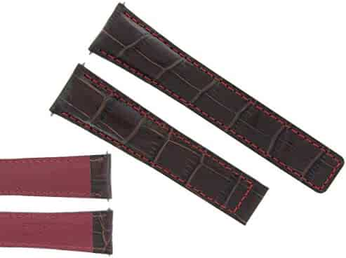 d0b0bbbd7 20MM Leather Watch Band Strap Clasp for TAG HEUER Carrera Brown RED Stitch  3T