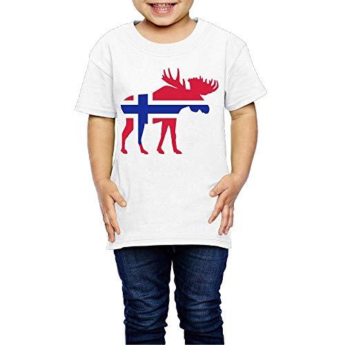 Moose Norway Flag Costume Infant Kids Crewneck Short Sleeve Shirt T-Shirt 2-6 Toddlers ()