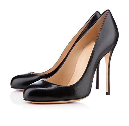 Elegant Soireelady Stiletto Shoes Heel Pumps Slip Round Womens Court High Black on Toe FnAZA8qr