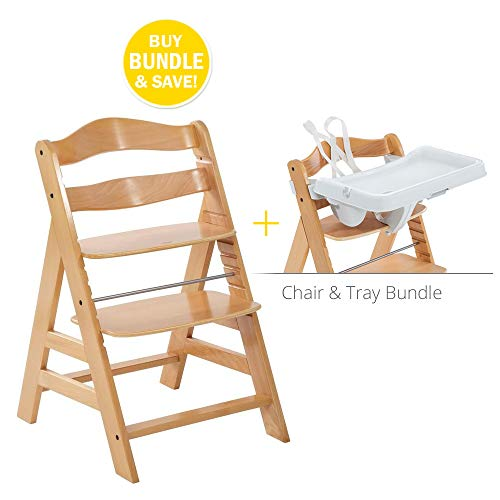 Hauck High Chair - Hauck Alpha Chair Feeding Bundle w/Tray & Harness. Award-Winning Euro Design, Adjustable Wooden Chair Complete with Feeding Tray & 5-Point Harness for Baby