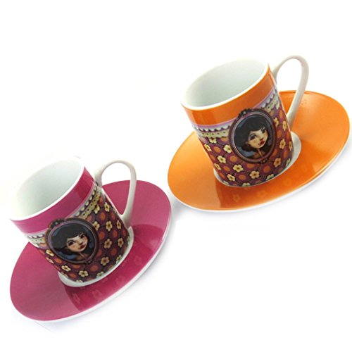Box 2 Coffee Cups 'Belle Epoque'orange Rose.