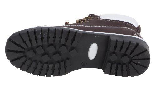 Viwoya - klassische Damen Chukka Worker Boots Nubuk WildLeder-Look Kontrastnähte Profilsohle Dunkelbraun