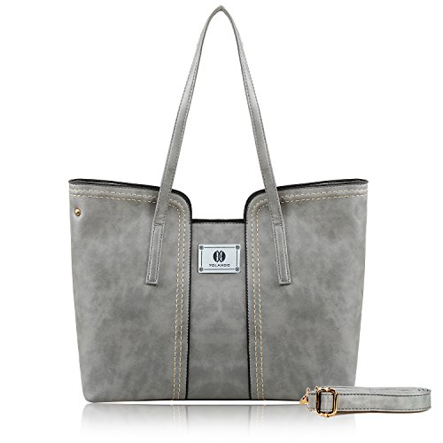 ther Top Zipper Tote Bag With Shoulder Straps Large Capacity T0030 Gray ()