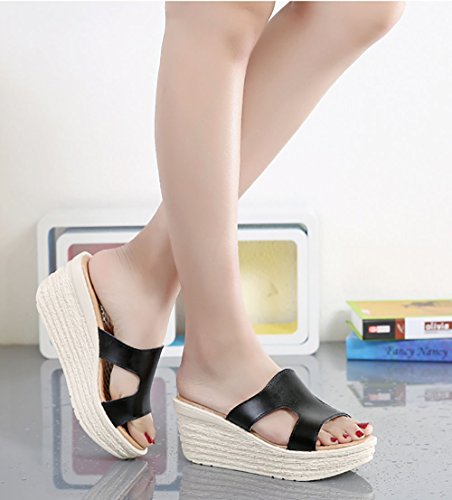 Wedge Toe Open Heel Slip Sandals Black On Casual Platform Women's Sandals wTq6gZH